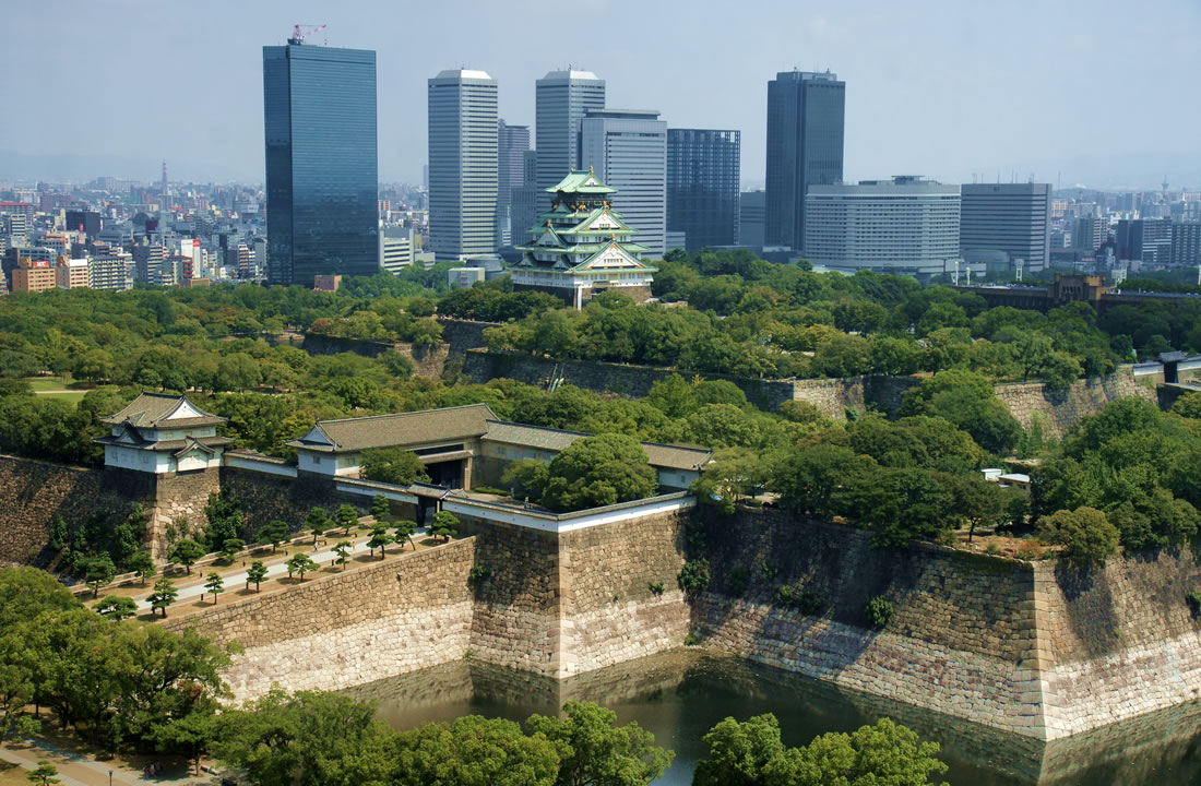 Osaka Castle with Osaka city