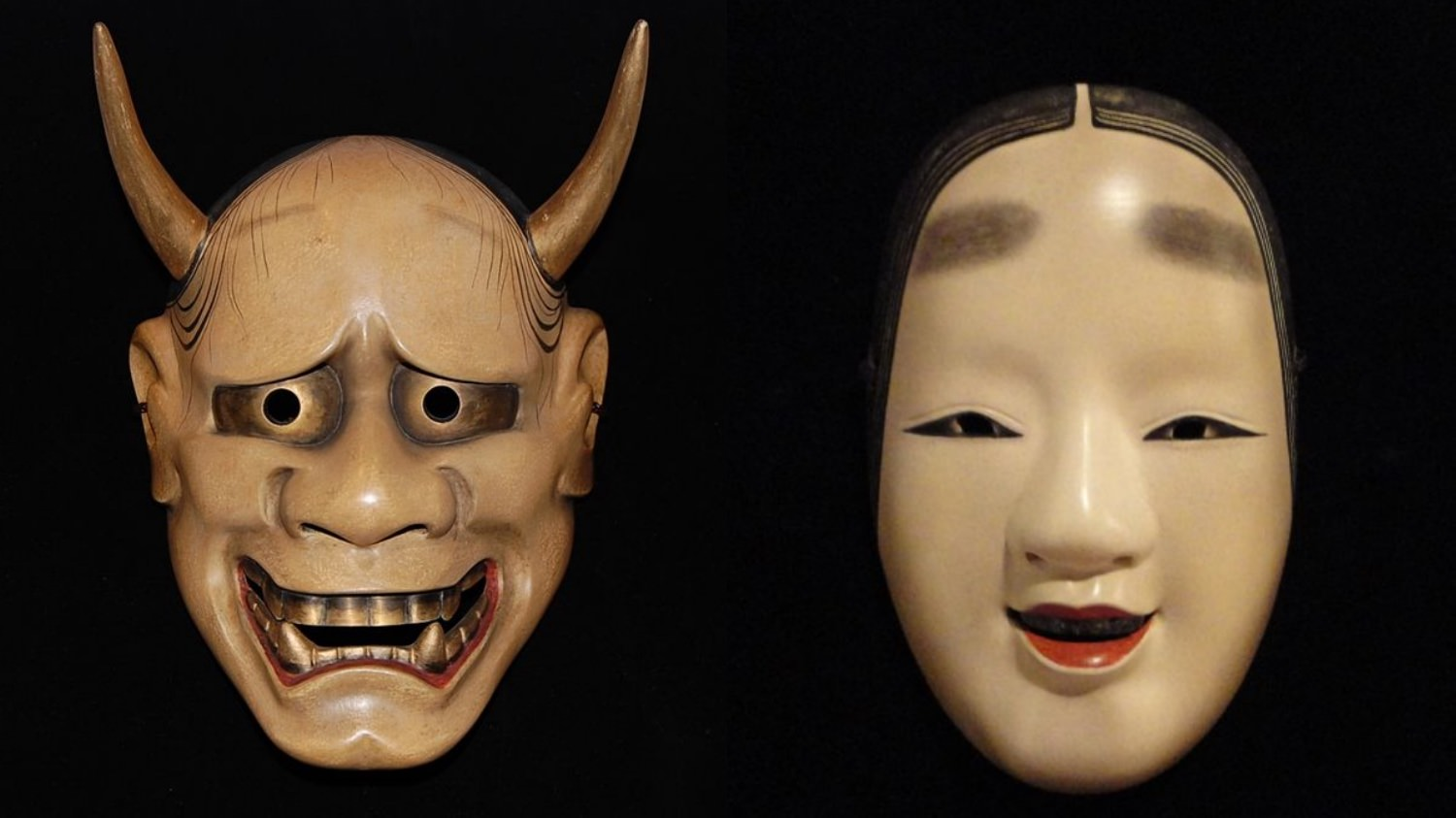 Japanese traditional Noh masks represent two contraversial emotions