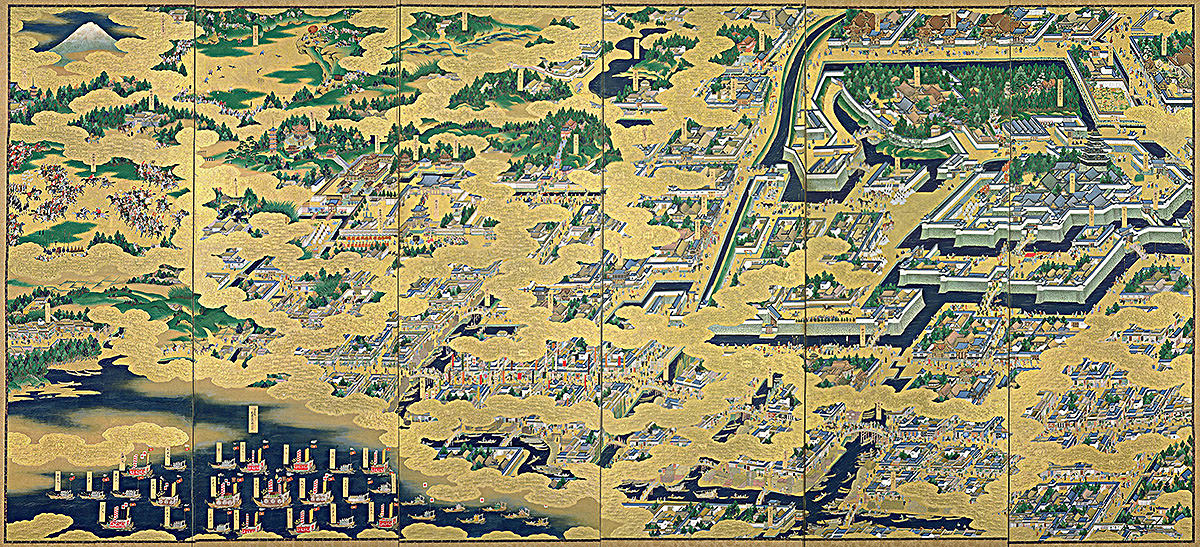Famous folding screen painting of the city of Edo (Tokyo)