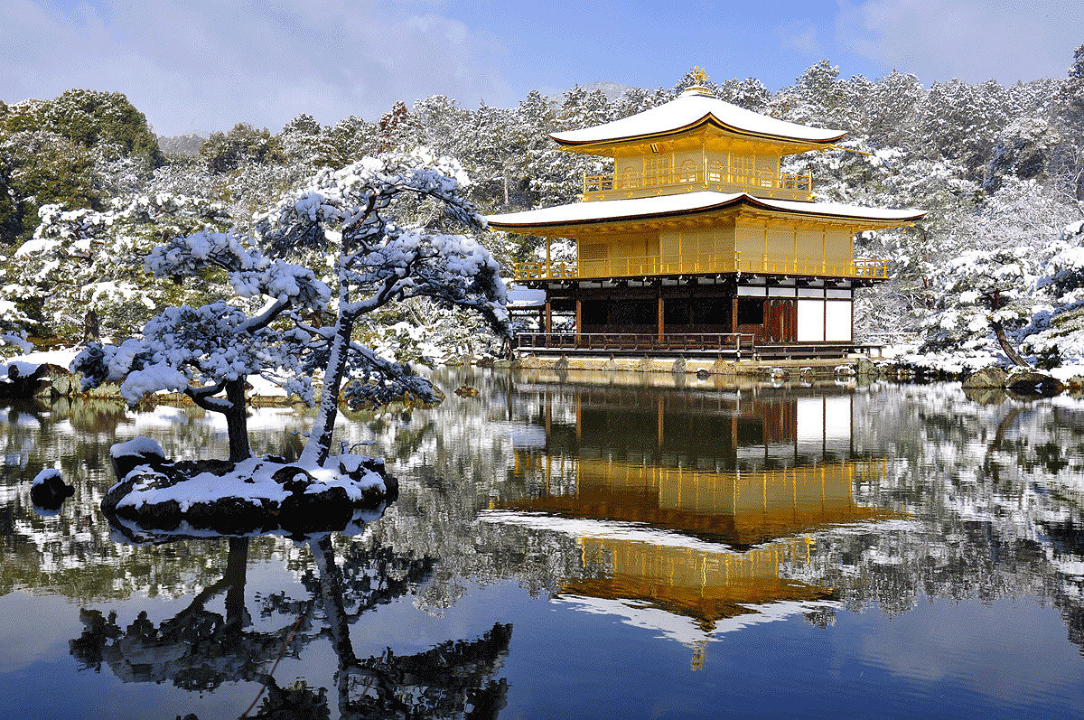 Kinkakuji-temple (Golden temple), covered by winter snow