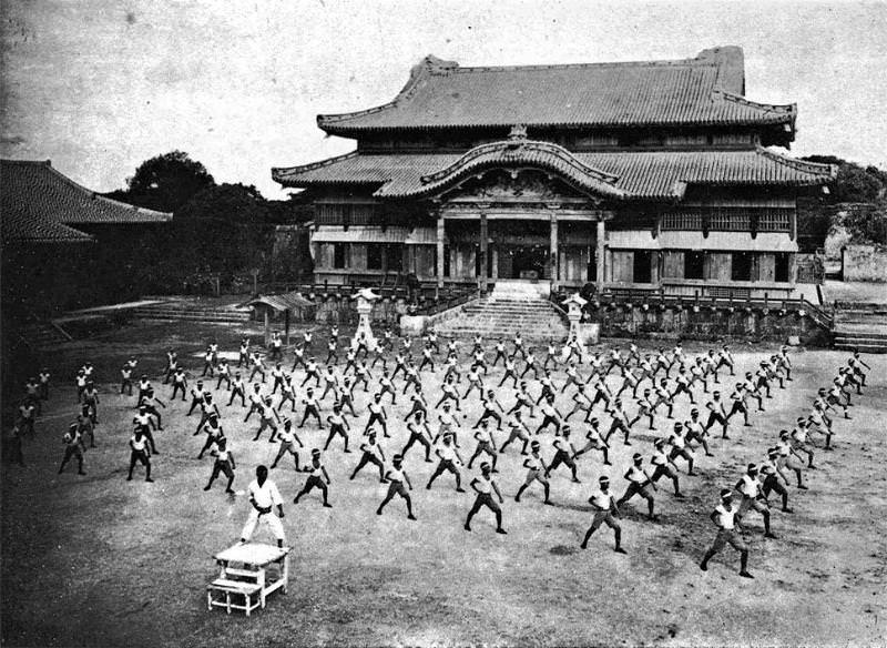 Karate practice at Shuri Castle, Okinawa