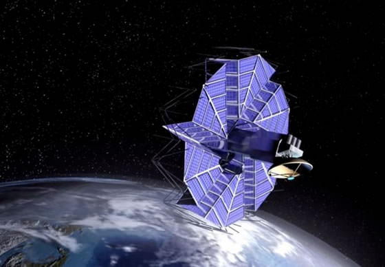 Origami style Solar panel of a satelite