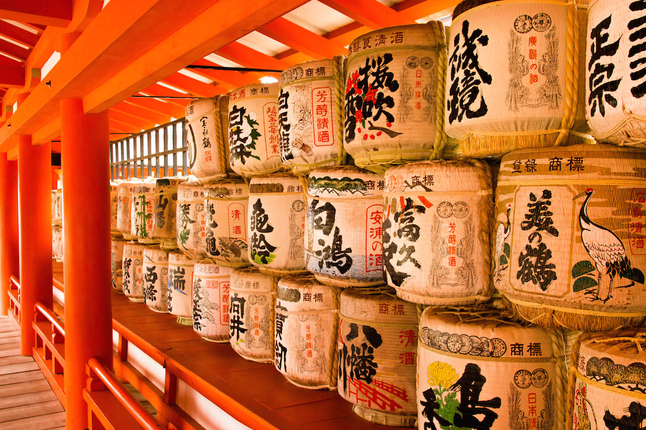 Sake barrels tributed to the Shinto shrine