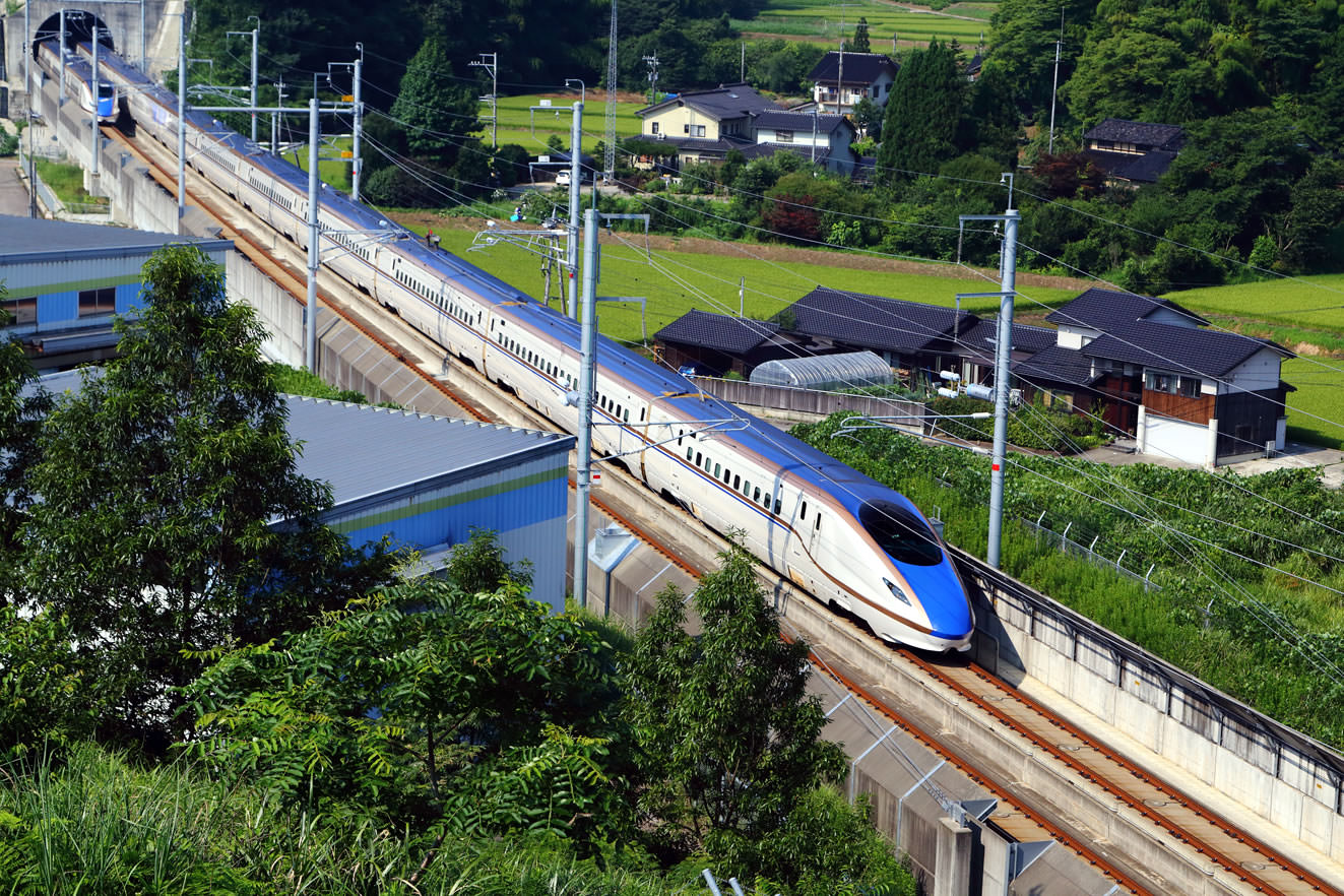 E7 Series Shinkansen Bullet Train in Hokuriku Line