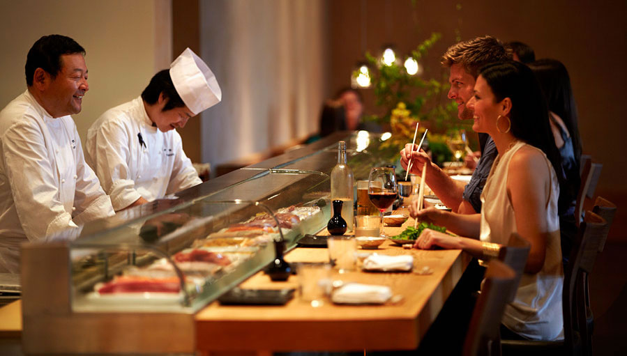 Sushi chef has extensive knowledge of seafood and fish