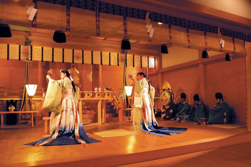 Traditional Kagura playing in shrine